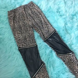 Leopard with Leather accent leggings